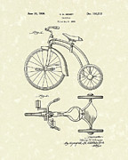 Tricycle Drawings - Tricycle 1936 Patent Art by Prior Art Design
