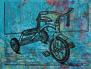 Linocut Metal Prints - Tricycle Metal Print by William Cauthern