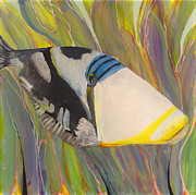 Snorkeling Glass Art Prints - Triggerfish 2 Print by Anna Skaradzinska