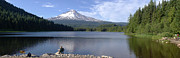 Trillium Lake And Mt Hood Panorama Oregon. Print by Gino Rigucci