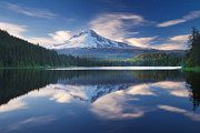 Mount Hood Oregon Posters - Trillium Lake Escape Poster by Darren  White