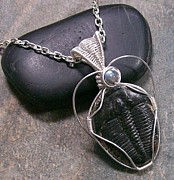 Industrial Jewelry - Trilobite Fossil and Labradorite Pendant TRIL22 by Heather Jordan