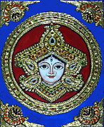 Hindu Goddess Mixed Media Metal Prints - trinetra Durgaji Metal Print by Vimala Jajoo