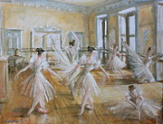 Ballet Dancers Painting Prints - Tring Park the Ballet Room Print by Yvonne Ayoub