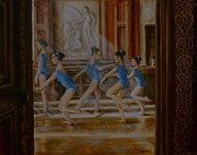 Ballet Dancers Painting Prints - Tring Park the Ballroom Print by Yvonne Ayoub