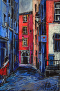 Street Pastels Originals - Trinite Square Lyon by Emona