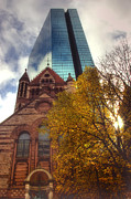 Fall In New England Metal Prints - Trinity and The Hancock Metal Print by Joann Vitali