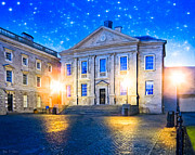 Street Lamps Digital Art Prints - Trinity College Dining Hall at Night Print by Mark E Tisdale