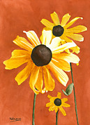 Black-eyed Susan Prints - Trio Print by Ken Powers