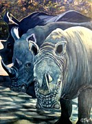Trio Of Rhino Print by Caroline Street
