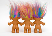 Rainbow Framed Prints - Trio of Troll Dolls from Behind Framed Print by Amy Cicconi