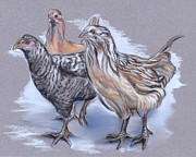 Chicken Pastels - Trio of Young Chickens by MM Anderson