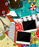 Paris Digital Art Posters - Trip and travel collage Poster by Richard Laschon