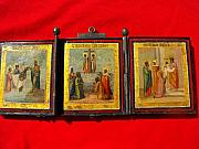 Baptist Painting Originals - Tripartite Russian portable icon featuring events from Jesus by Anonymous