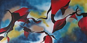 Triphid Paintings - Triphids In Red by Barbara Petersen