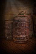 Cellar Posters - Triple Barrels Poster by Susan Candelario