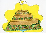 Culinary Drawings Prints - Triple-Decker Flan - was the plan Print by Mag Pringle Gire
