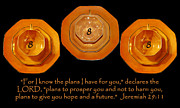 Jeremiah 29:11 Prints - Triple Eight Octagon Saucers with Jeremiah Twenty Nine Eleven on Black Print by Heather Kirk