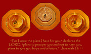 Jeremiah 29:11 Prints - Triple Eight Octagon Saucers with Jeremiah Twenty Nine Eleven on REd Print by Heather Kirk