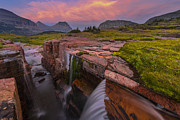 Glacier National Park Posters - Triple Falls Sunset Poster by Joseph Rossbach