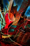 Triple Header Digital Banjo And Guitar Art By Steven Langston Print by Steven Lebron Langston