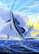 Black Marlin Framed Prints - Triple Header Off0097 Framed Print by Carey Chen