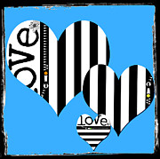 Nyigf Licensing Metal Prints - Triple Heart Love Blues Metal Print by Anahi DeCanio