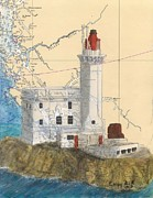 Chart Painting Posters - Triple Islands Lighthouse BC Canada Chart Art Poster by Cathy Peek