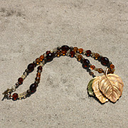 Triple Leaf Costume Brooch Pendant Necklace 3637 Print by Teresa Mucha