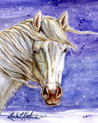 White Stallion Posters - Tripod Wild Stallion of the Sand Wash Basin Poster by Linda L Martin