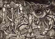Surrealism Drawings Prints - Tripping Through Bogomils Mind Print by Otto Rapp