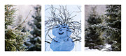 Santa Art Prints - Triptych - Christmas Trees And Snowman - Featured 3 Print by Alexander Senin