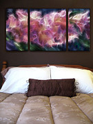 Pink Bedroom Paintings - Triptych Display Sample 01 by Peter Piatt