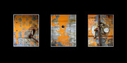 Decor Photography Originals - Triptych Old Metal Series by Ann Powell