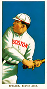 Red Sox Photo Posters - Tris Speaker Boston Red Sox Baseball Card 0520 Poster by Wingsdomain Art and Photography