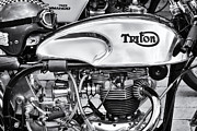 Petrol Framed Prints - Triton Cafe Racer Monochrome Framed Print by Tim Gainey