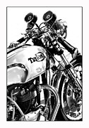 Triton Motorcycle Print by Tim Gainey