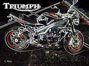 Smooth Ride Posters - Triumph Abstract Poster by George Pedro