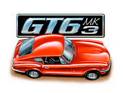 Auto Art Prints - Triumph GT-6 Mark 3 Red Print by David Kyte