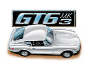 Auto Art Prints - Triumph GT-6 Mark 3 White Print by David Kyte