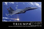 Jet Poster Prints - Triumph Inspirational Quote Print by Stocktrek Images