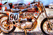 Engineering Digital Art Prints - Triumph Motocycle . Painterly . 7D15318 Print by Wingsdomain Art and Photography