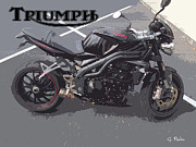 Smooth Ride Posters - Triumph Motorcycle Poster by George Pedro