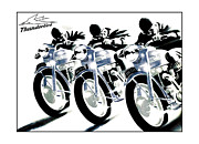 Motorcycle Art Prints - Triumph Thunderbird Trio Print by Mark Rogan