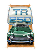 Sportscar Digital Art - Triumph TR-250 Sportscar in Dark Green by David Kyte