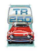 Sportscar Digital Art - Triumph TR-250 Sportscar in Red by David Kyte