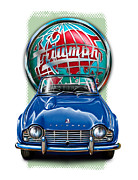Sportscar Posters - Triumph TR-4 British Sportscar in Blue  Poster by David Kyte