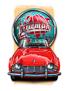 Sportscar Posters - Triumph TR-4 Sportscar in Red Poster by David Kyte