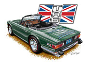 Sportscar Prints - Triumph TR-6 British Racing Green Print by David Kyte