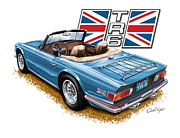 David Kyte Art - Triumph TR-6 in French Blue by David Kyte